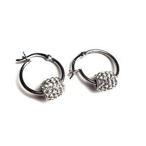 Sterling Silver White CZ Bead Hoop Earrings